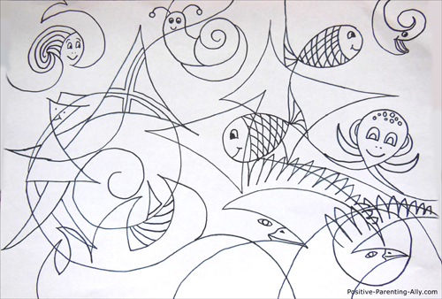 Easy drawing for kids: making figures in abstract, cubist inspired drawing.