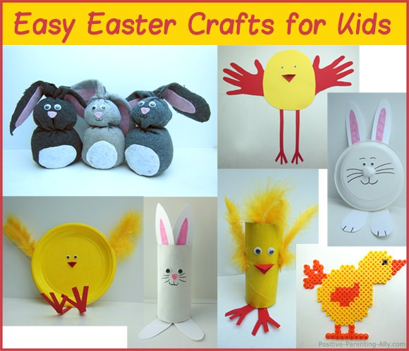Lots of easy easter crafts for kids: bunnies and chickens.