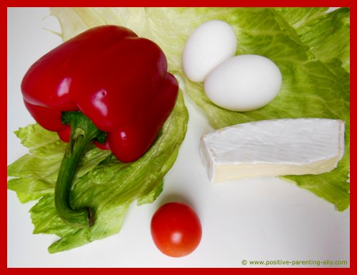 Ingredients for egg boats: eggs, bell pepper, cheese, tomato and salad.