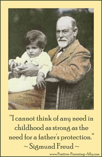 Freud in a garden with Hans in his lap: Famous Freud quote on parenting and children: I cannot think of any need in childhood as strong as the need for a father's protection.