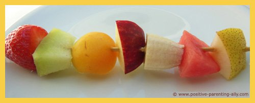 Fruit on a stick: fruit kebab for kids to snack on.