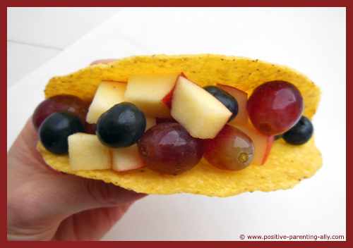 Funky fruit tortilla for kids as a healthy quick snack.