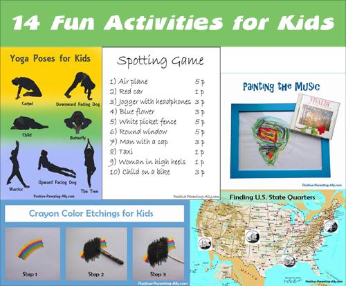 14 fun activities for kids: both creative indoor games and active outdoor games.