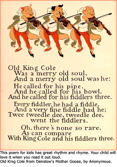 Poems for kids as fun games for kids: Poem from the Mother Goose poems book.