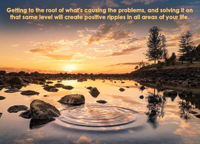 Getting to the root of problems in personal life coaching. Ripples in a river.