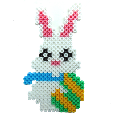 Easy Easter crafts for kids. Hama beads white Easter bunny.