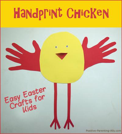 Easy Easter crafts for kids: handprint chicken.