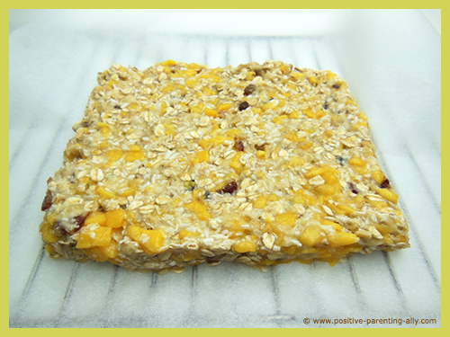 Healthy banana mango snack cake ready to go in oven.