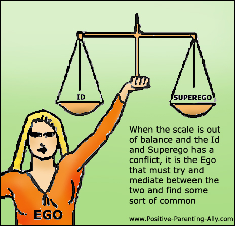 The ego trying to mediate between the id and superego. Woman holding a scale.
