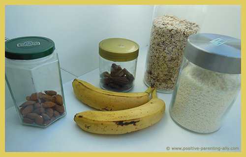 Ingredients for banana snack cakes.