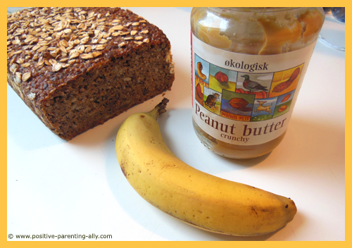 Rye bread, banana and peanut butter for coffin sandwich