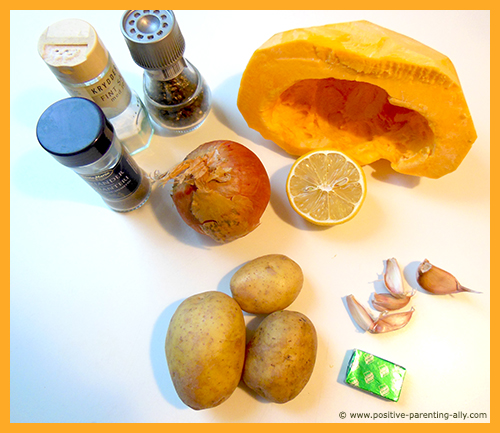 Ingredients for favorite soup: delicious pumpkin soup for toddlers.