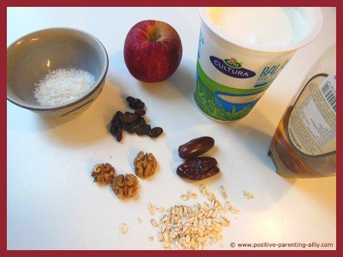 Ingredients for stuffed apples as fun kids snacks.
