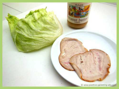 Ingredients for turkey salad rolls with peanut butter.
