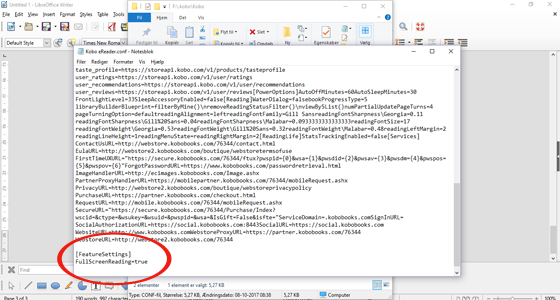 Insert the code into the Kobo eReader config file.