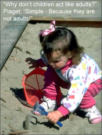Jean Piaget's theories on child development illustrated via little girl playing in sand box.