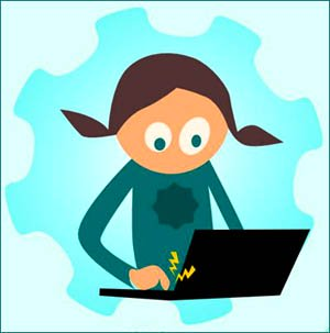 Cute drawing of little girl and laptop - lots of good math websites out there.