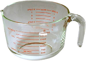 Learning about measurements and multiplication: Photo of a 2 litres measuring cup.