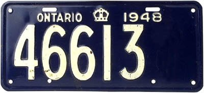 Counting license plates can be a fun kids math game. Old ontario license plate.