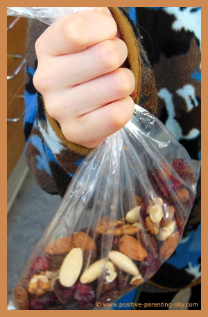 Snack bag for kids with berries and nuts