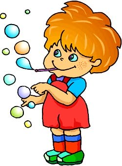 Blowing bubbles can also be fun learning games for kids. Cute preschooler blowing colorful bubbles