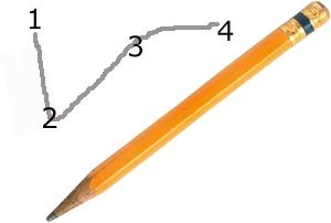 Dot to dot is a great educational game for preschoolers: Picture of a pencil and numbers 1, 2, 3 and 4.