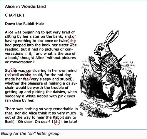 Text piece with Alice in Wonderland and picture of the white rabbit. Using it as a reading game.
