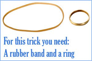 Easy magic tricks: Climbing ring on a rubber band.