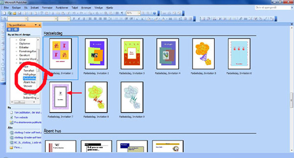 How to make your own birthday invitations in Microsoft Publisher: step three: look at the templates shown.