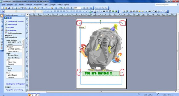 How to make your own birthday invitations in Microsoft Publisher: step seven: Adjust the size of your card.