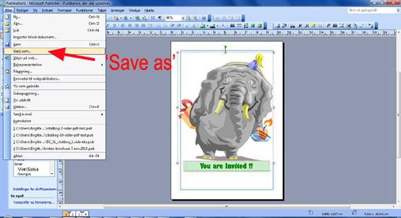 How to make your own birthday invitations in Microsoft Publisher: step eight: Save your birthday card.