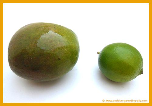Mango and lime fruit.