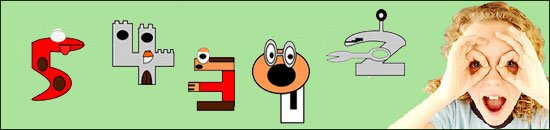 How to make math for kids fun: Funny cartoon numbers.