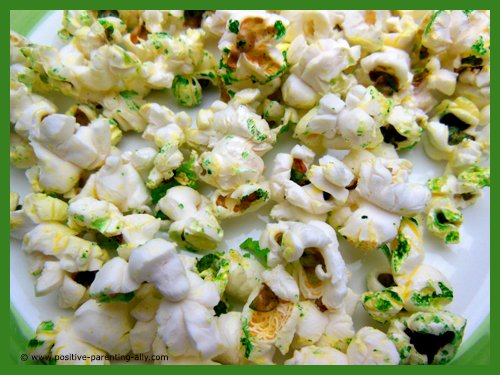Mouldy green popcorn for Halloween. Easy Halloween snacks for kids.