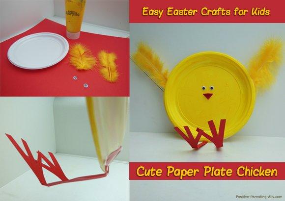 Easter kids crafts: Paper plate chicken.