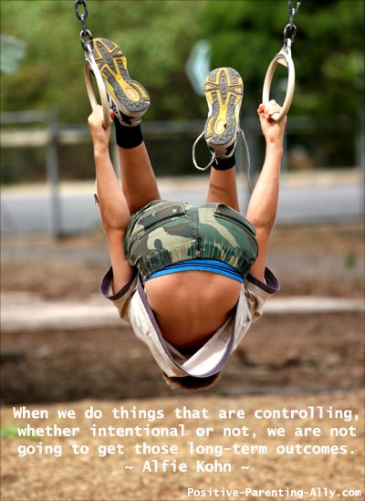 Parenting quote by Alfie Kohn on giving up control.