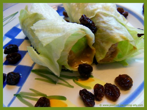 Healthy snacks for kids that are quick to do: Roll up some lettuce with some peanut butter. Simple quick raw snacks.