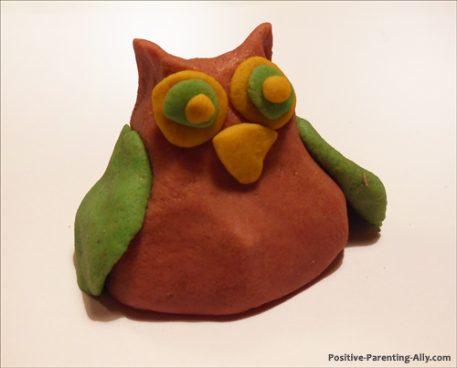 Red owl made from a homemade play doh recipe.