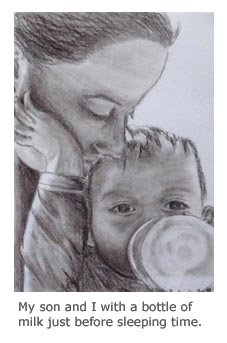 Positive Parenting Ally - coal drawing - drinking milk from bottle