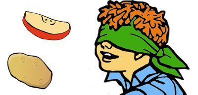 A fun kids science experiment to show how much smell plays a part in tasting: Blindfolded child and some food.