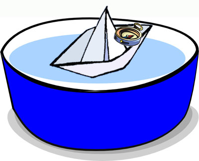 easy science fair projects: A paper boat in a bowl of water and a needle magnet pointing to the magnetic north pole.