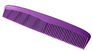 Playing with static electricity with water and a comb: Purple comb.