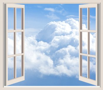 Blue sky and clouds through window