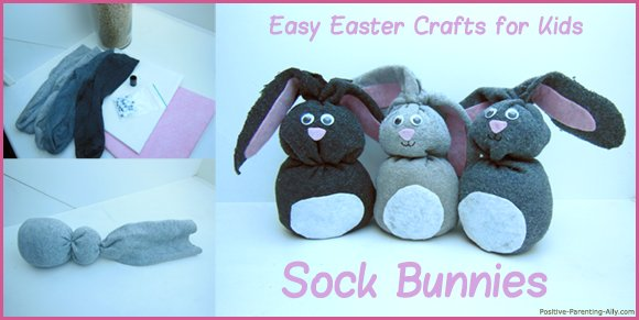 Fun Easter crafts for kids: making sock bunnies.