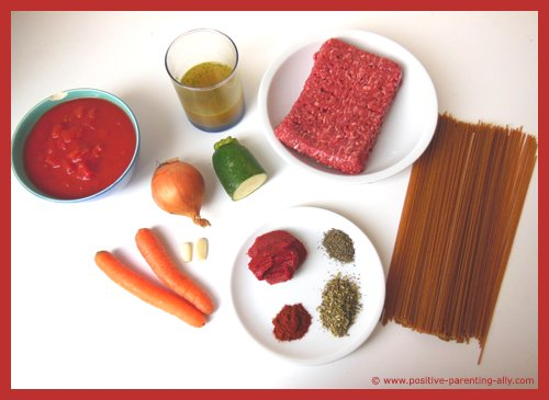 Recipe ingredients for a healthy spaghetti bolognaise that is easy for kids to do.