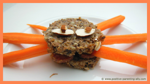Healthy Halloween recipes for kids: Scary spider sandwich for Halloween.