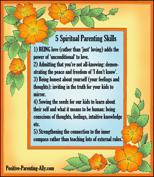 Infographic of 5 spiritual parenting skills for parents.