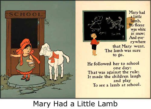 Nurcery rhymes as fun activities for toddlers: Pictures from Mary Had a Little Lamb.