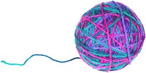 Fun indoor toddler activities: Ball of multicolored yarn - follow the thread.