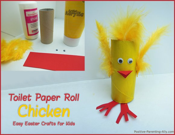 Toilet roll chicken as cute Easter crafts for kids.